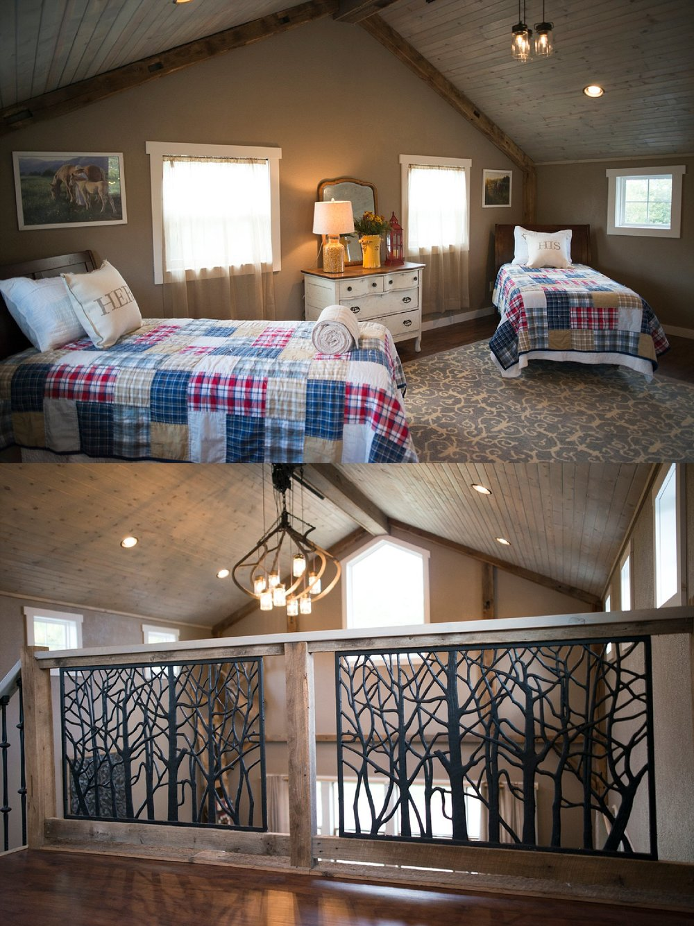Top:  She's created the perfect spot for sleepovers in the loft.  Bottom:  The intricate iron stair railing came from Menards and that's her prized hay hook light in the background.