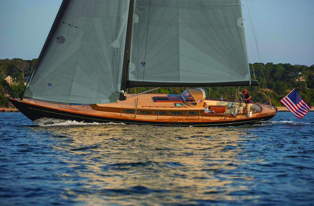 graphic addition of teak deck, alt hull and mast color | in collaboration with Morris Yachts