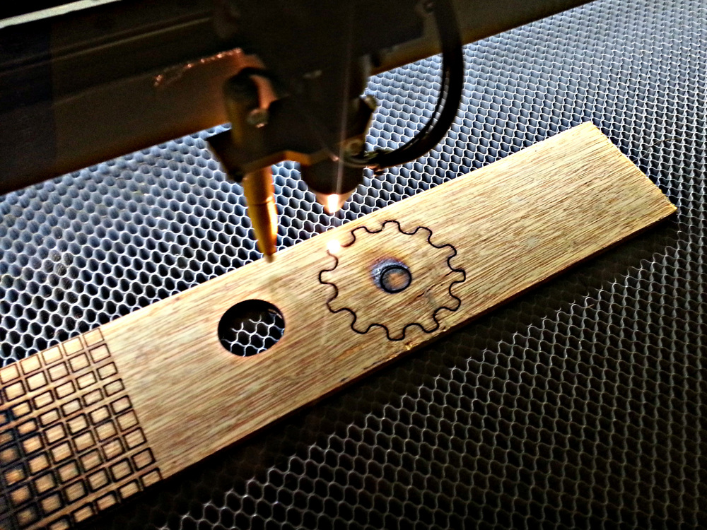 Laser cutting at Edgewater Workbench in northside Chicago