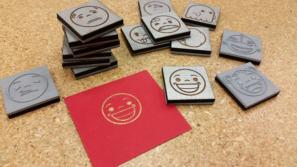 Laser cut stamps made at Edgewater Workbench in Chicago