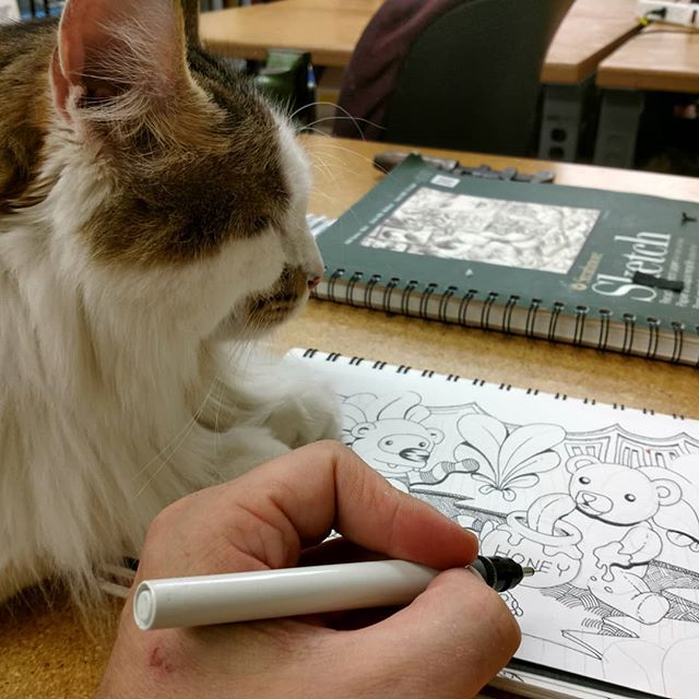 #shopcat hanging out at the weekly drink and draw with @northsidecomicartists