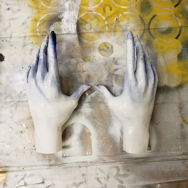 Priming some 3d printed hands for a theater production. #design #paint #3dprinting #props #costume #chicago