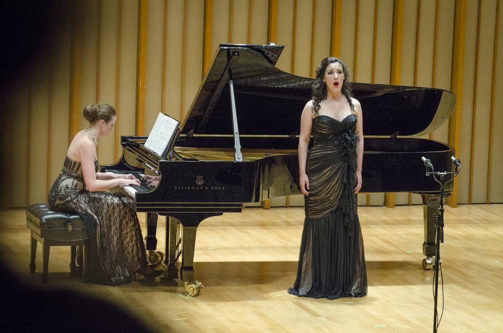 2014 pianist Elena Fomicheva with professional singer Tiffany du Mouchelle.
