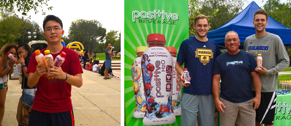 Positive Beverage natural energy & vitamin beverages at the University of California Riverside campus!