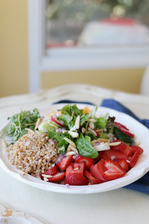 Strawberry and Melon Green Salad w/ Farro | Purposeful Plate