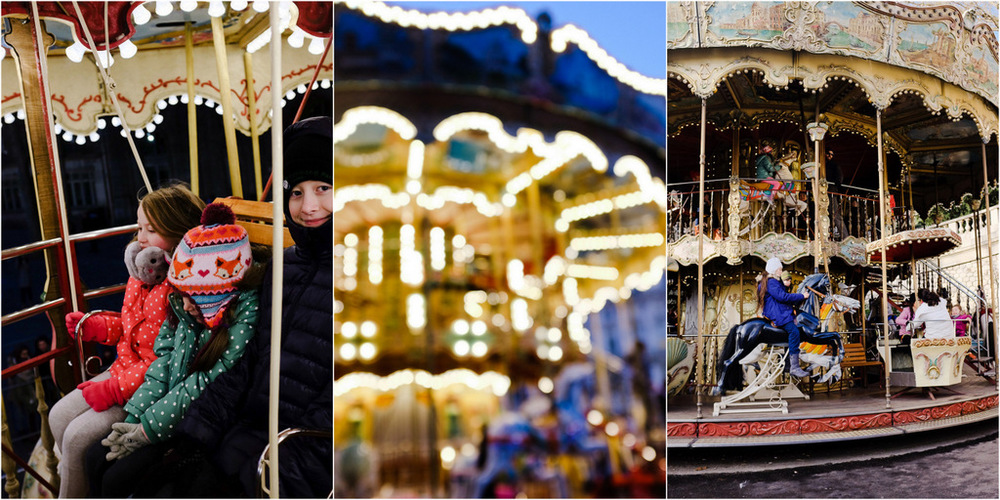 All of the carousels were free for the holiday season, and they could not have been more excited about a double decker!!