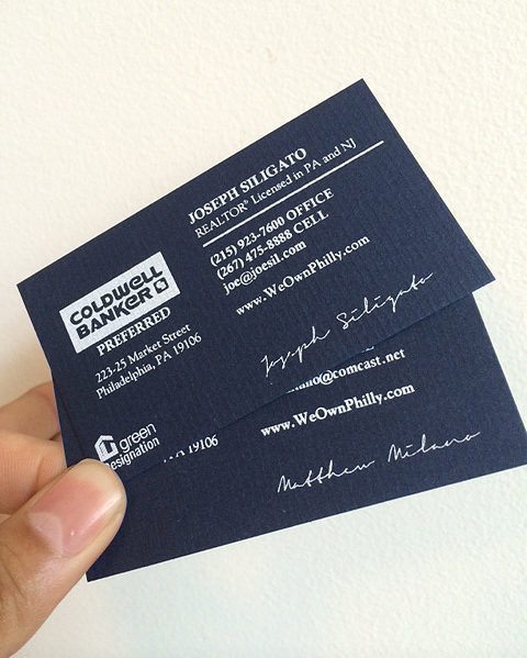 10 screen printed business cards white ink on textured laid neenah patriot blue