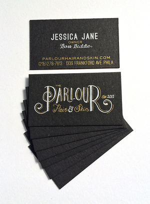Business cards atmosphere printing company metallic gold and white ink on thick black recycled chipboard colourmoves