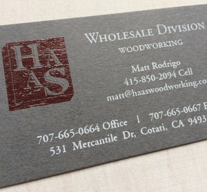 thermographic logo and white ink screen printing on 130lb raw wrought iron neenah paper - Screen Printing Business Cards
