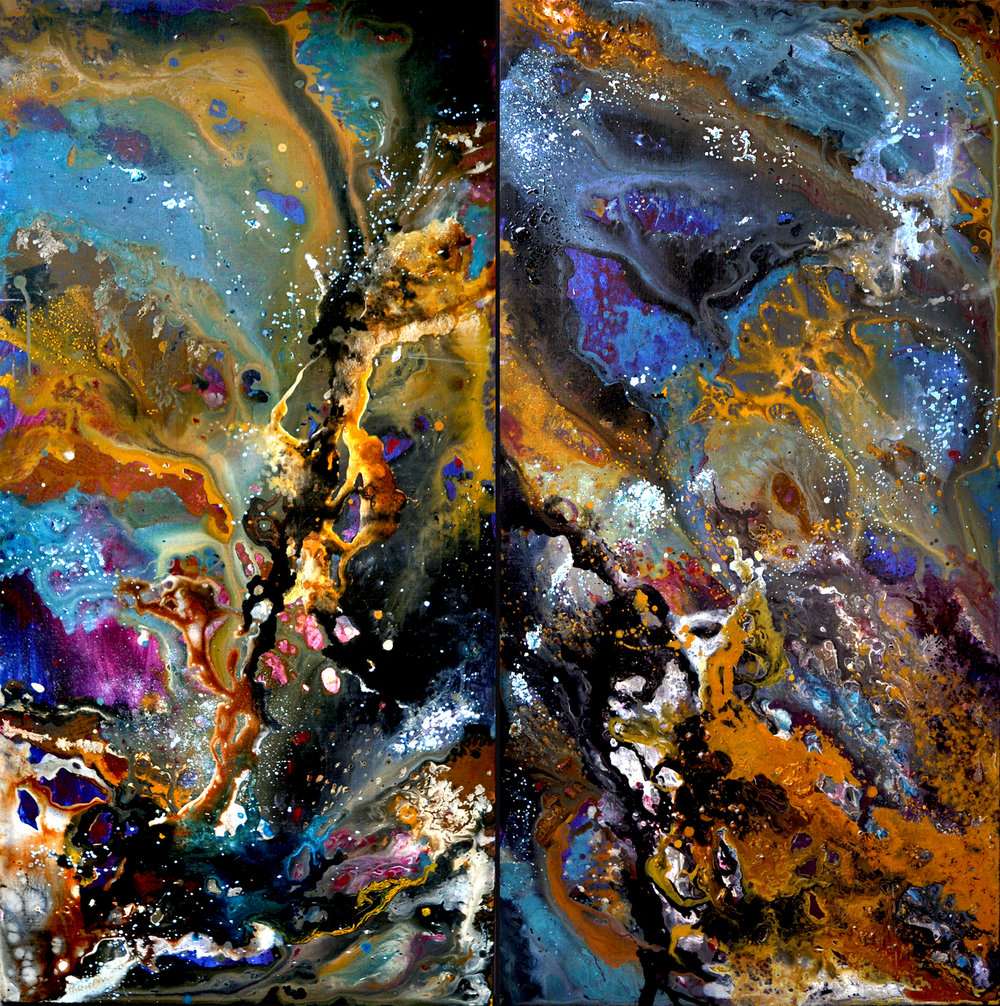 """Cosmos"" Diptych by Hannah Rothstein, 2017. 4' x 4' Starting bid $1,200"