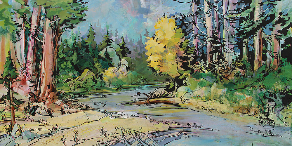 "SOLD ""By the River"" by Forest and Dianne Stearns, 2016. 4' x 8'"