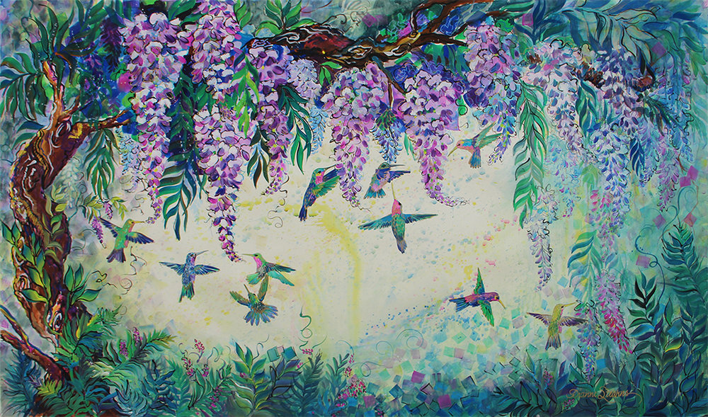 """Wisteria & Hummingbirds"" by Dianne Stearns, 2017. 4' x 6' Tempura on paper. Prints available for sale."