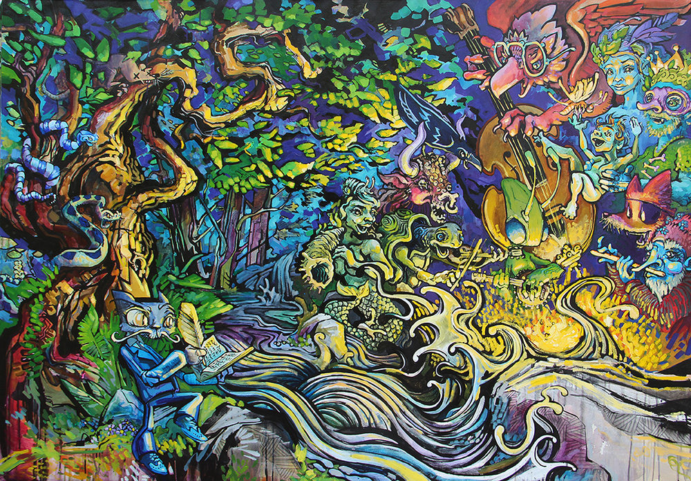 "SOLD ""Baby of the Fae"" by Forest Stearns, 2017. 4' x 6'"