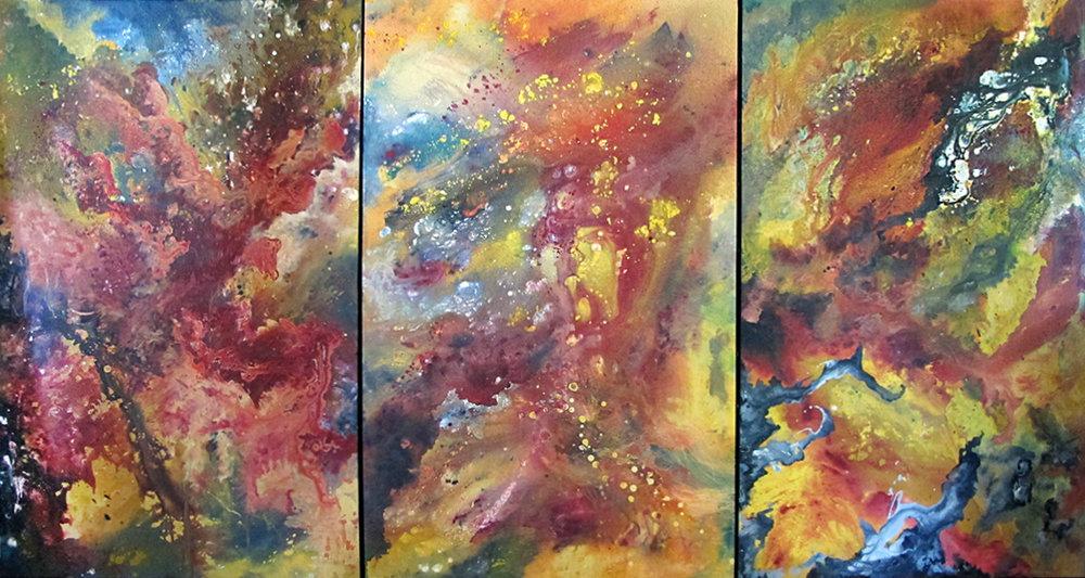 "SOLD ""Genesis"" Triptych by Hannah Rothstein, 2016. 4' x 8'"