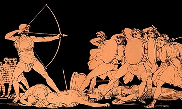Odysseus killing Queen Penelope's unworthy suitors