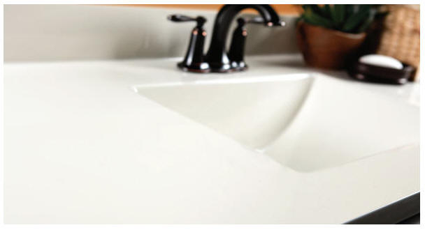 Quick-Ship Cultured Marble Super fast delivery and an incredible value- that's the concept behind WOLF Quick-Ship Cultured Marble tops. Choose from three popular neutral colors that will immediately enhance any traditional or modern bath décor. Why wait or pay more?      Available in either recessed oval or flush rectangular bowl in popular standard sizes      All-in-one design for easy cleaning      Wear-resistant top coat provides durability and lasting beauty      Pre-drilled faucet holes      5-Year Limited Warranty      Quick delivery-ready to ship!
