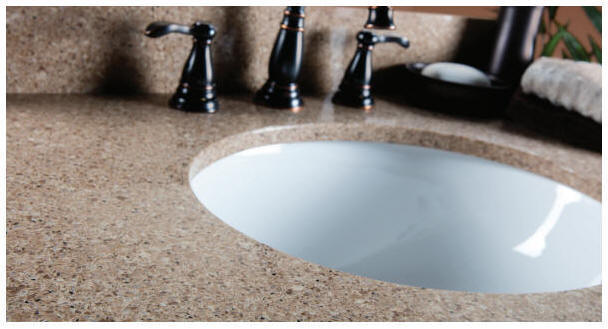"""For a great look at a great price, WOLF Quartz is a natural choice. It's made to resist stains and moisture, providing years of low maintenance beauty and performance.   Installed undermount bowl in your choice of rectangular or oval included    3/4"""" decking surface   Variety of bowl sizes, shapes and colors available   Five decorative profile options   Pre-drilled faucet holes with multiple options   5-Year Limited Warranty   Quick delivery"""