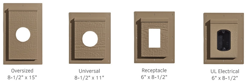 Oversized, Universal, Receptacle and UL Electrical mount blocks are designed to mount items such as: exterior lighting, electrical outlets, data/network bes, and intake/exhaust vents.