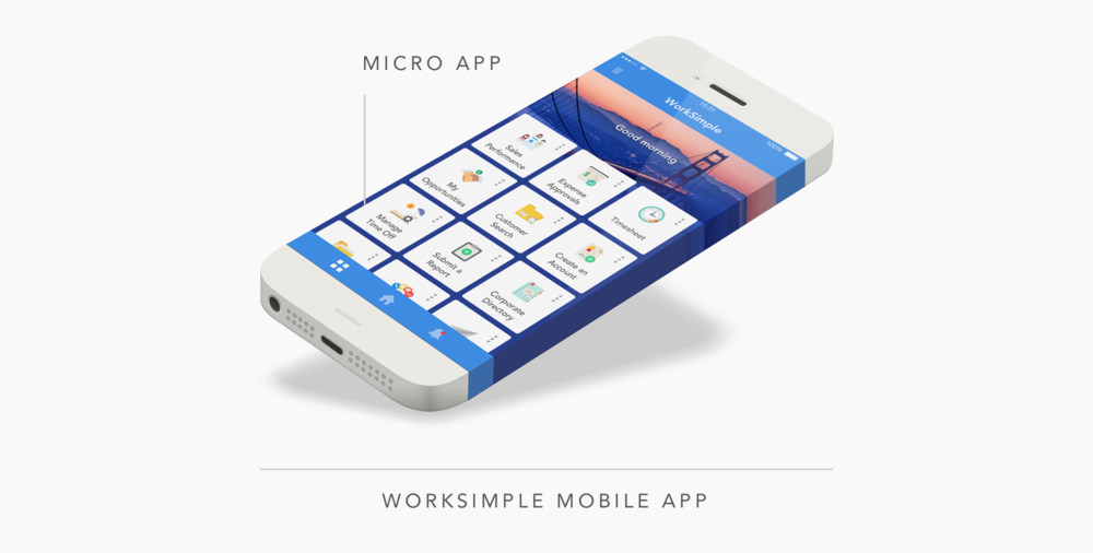 Our customers each have a branded WorkSimple app they distribute to their employees with a custom set of micro apps for their work needs.