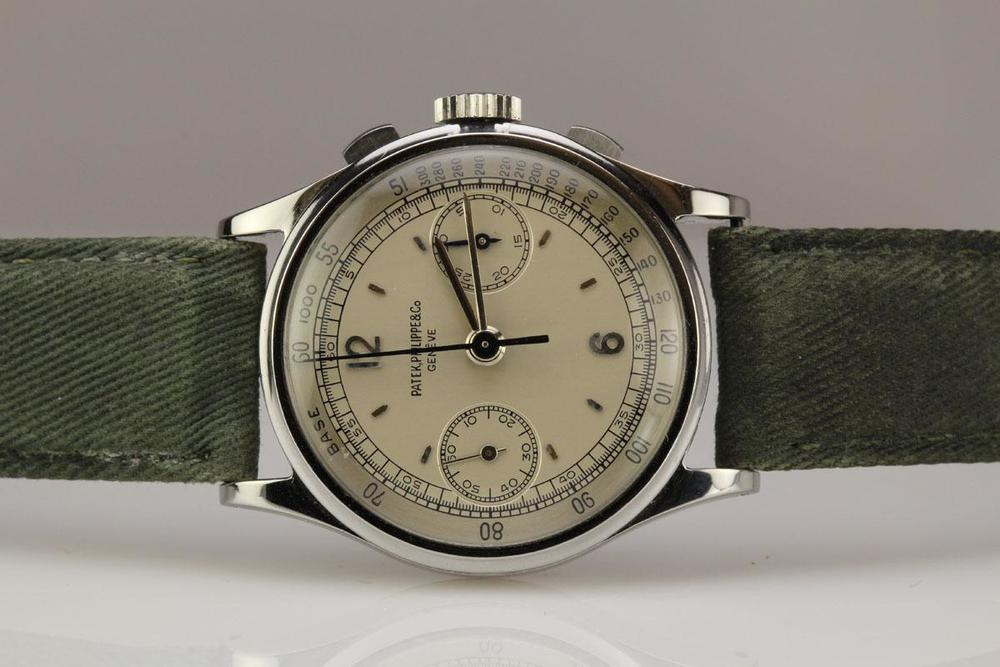 A Steel Patek Philippe Reference 130. Circa 1938. Photograph Courtesy of Matthew Bain Inc.