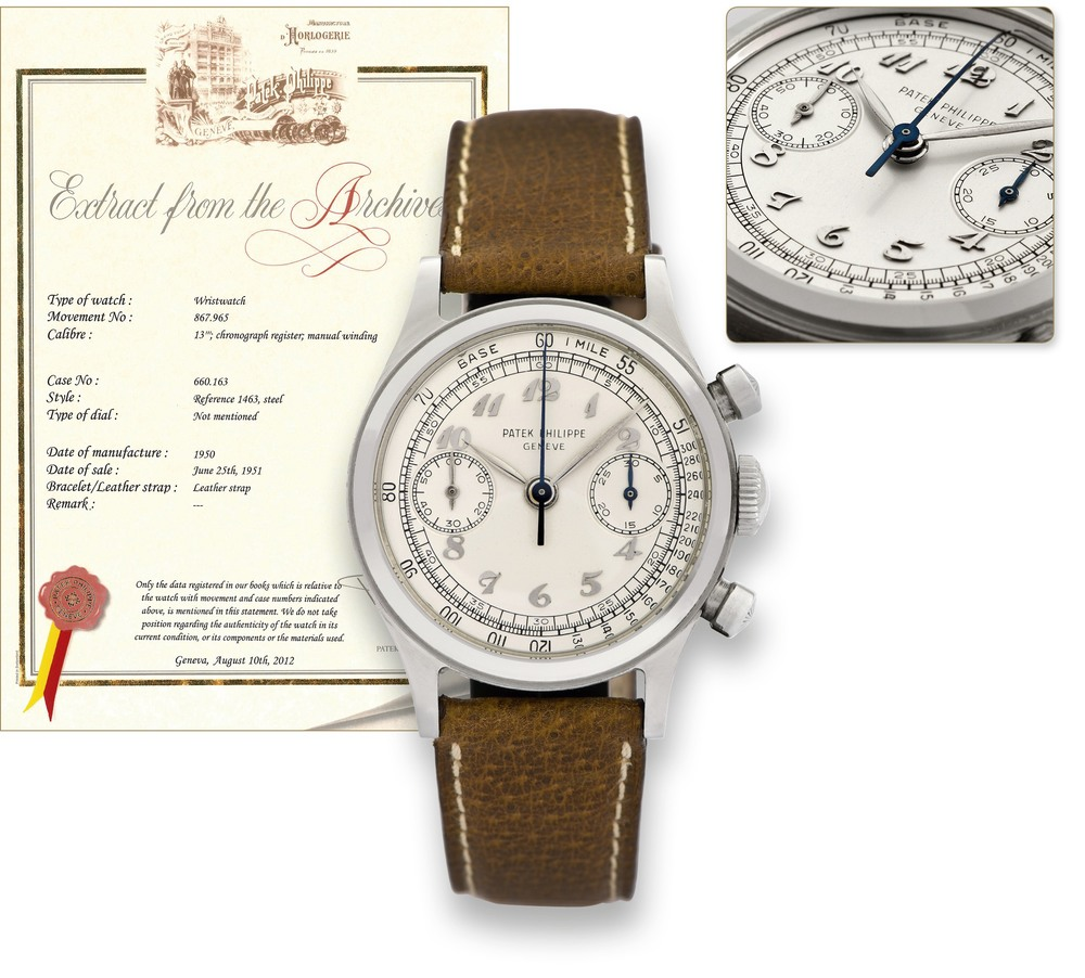 A Rare Patek Philippe Reference 1463 In Steel, Circa 1950. Photo Courtesy Of Antiquorum.