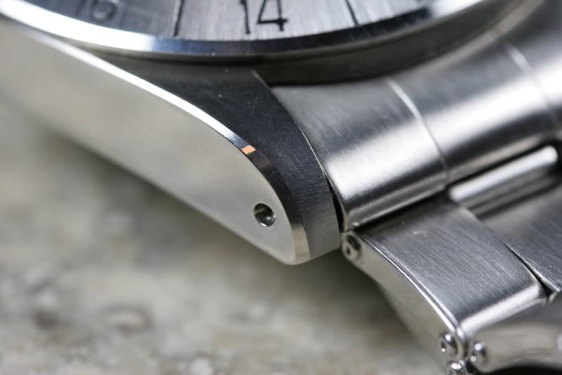 A Chamfered Edge (Beveled Edge)  On A NOS Vintage Rolex Explorer II