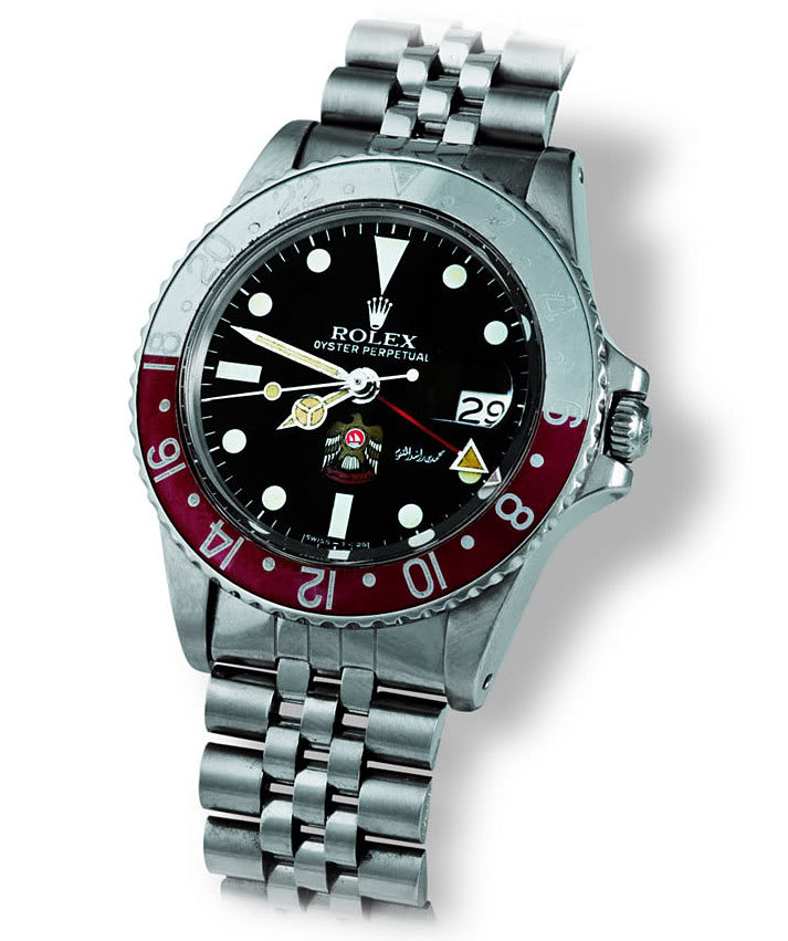 A Rare Rolex GMT Master Reference 1675. A UAE Eagle Stamped On The Dial.