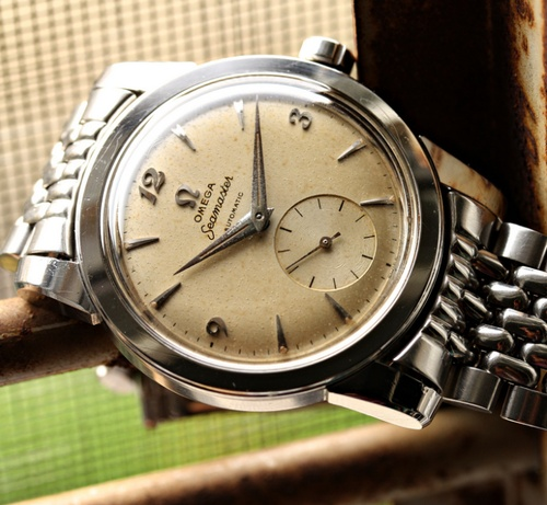 An Steel Omega Seamaster On A Beads Of Rice Bracelet