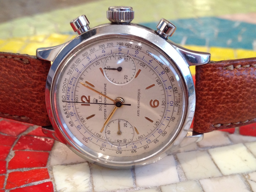 A Steel 1940's Rolex Chronograph Model 3525.