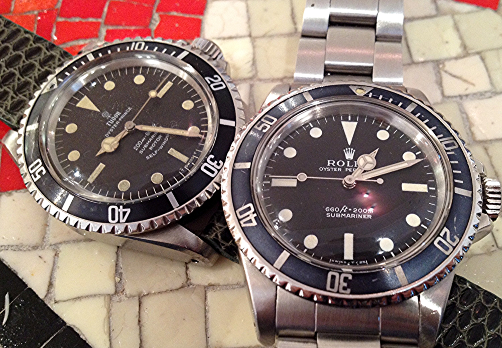 A Classic Rolex 5513 Alongside A Rugged, But Well-Kept Tudor Submariner.