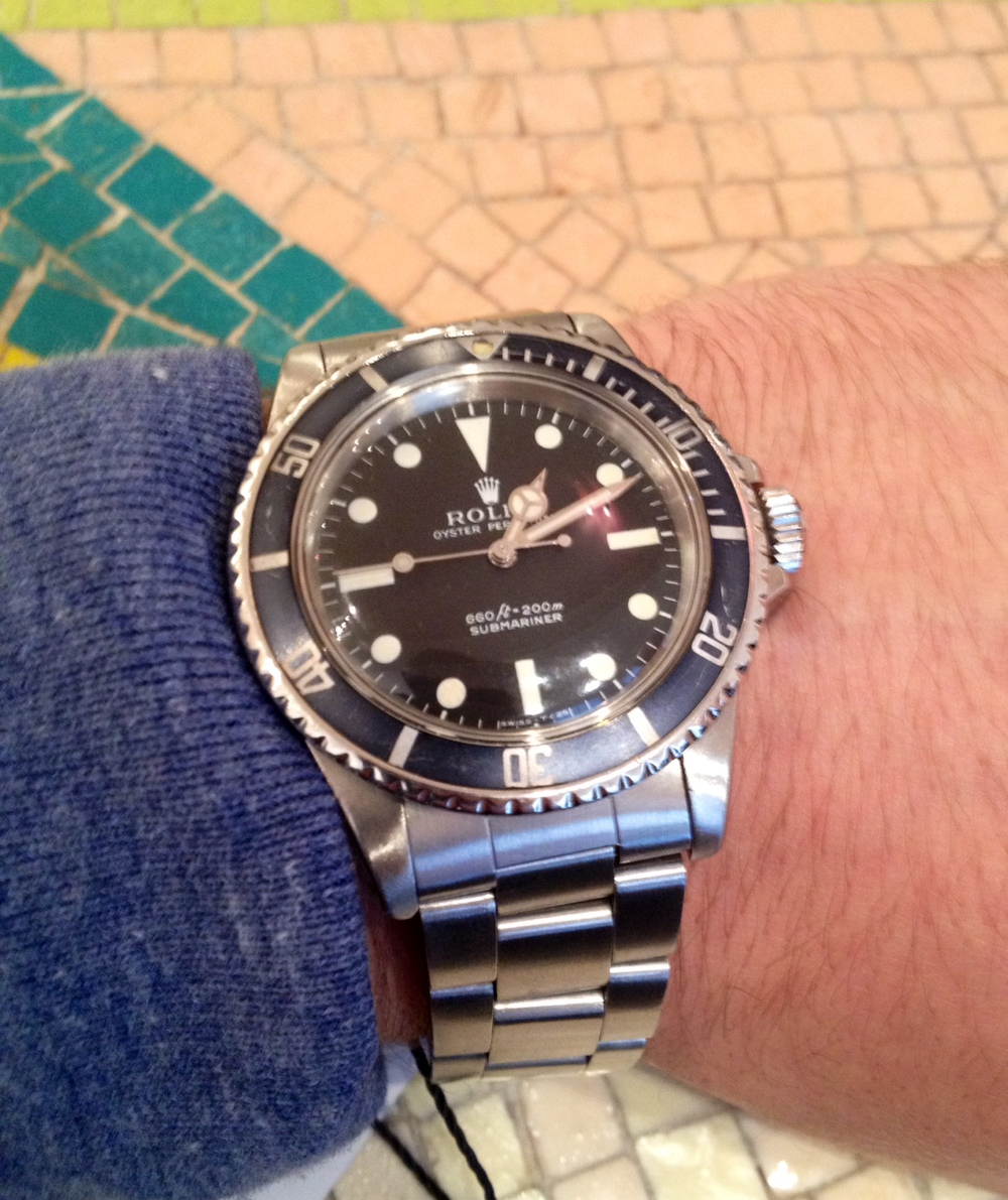 A Shot On The Wrist Of A Rolex 5513 Submariner.