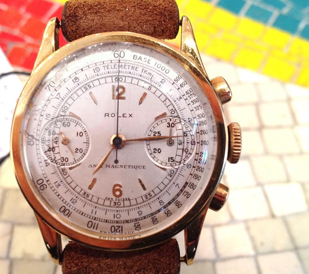 A Slim Rolex chronograph, Valijoux Caliber 23 ($!9,000).