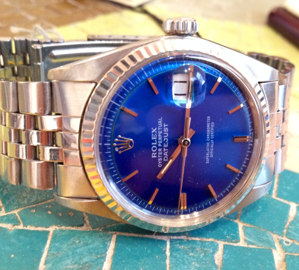 A Lovely Rolex Datejust 1601 With An Amazing Bright Blue Dial.