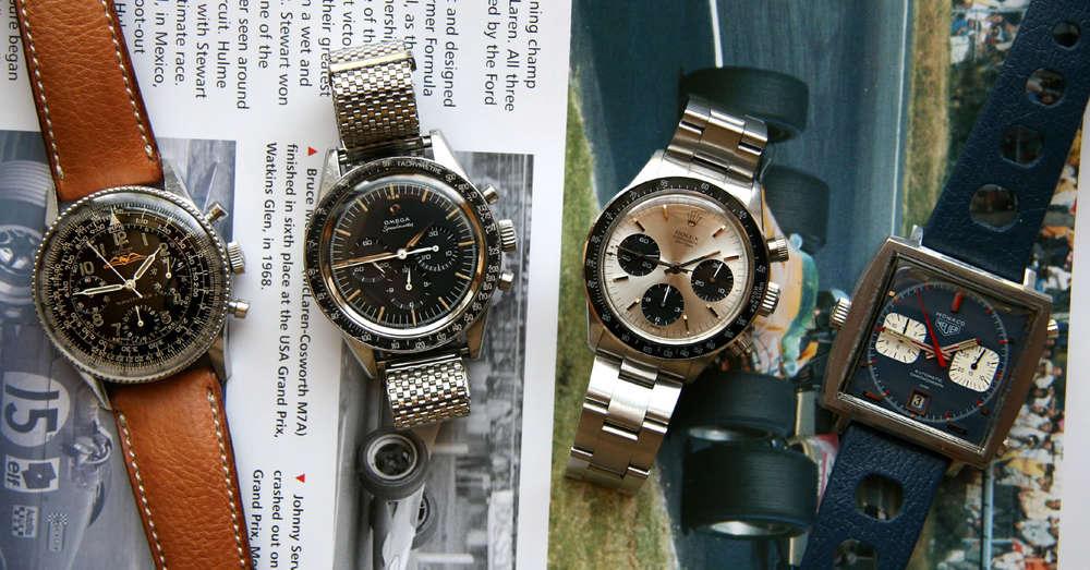 (Left to Right)Breitling ref. 806 AOPA Navitimer, circa mid/late 1950s,Omega ref. 2998-3 Speedmaster, circa 1959-60,Rolex ref. 6240 Cosmograph Daytona, circa 1965,Heuer ref. 1133b Monaco, circa early 1970s.