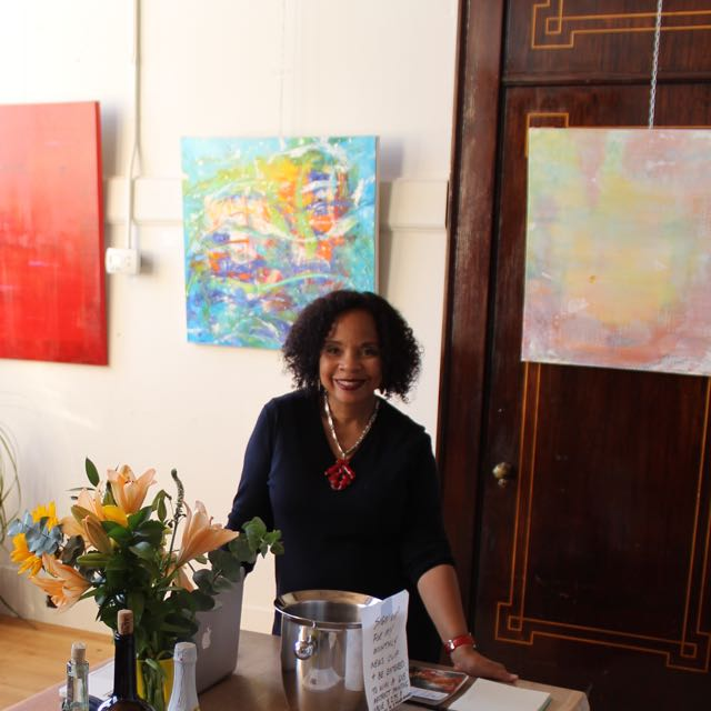 Pictured with a few mid-sized works during Open Studios weekend.