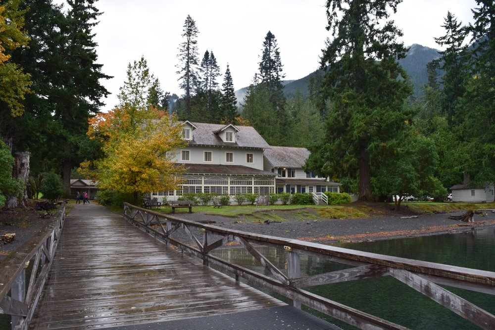 A look back at the iconic Lake Crescent Lodge from the dock.