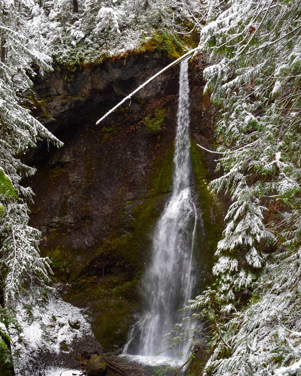 Winter Snow Surrounding the Falls