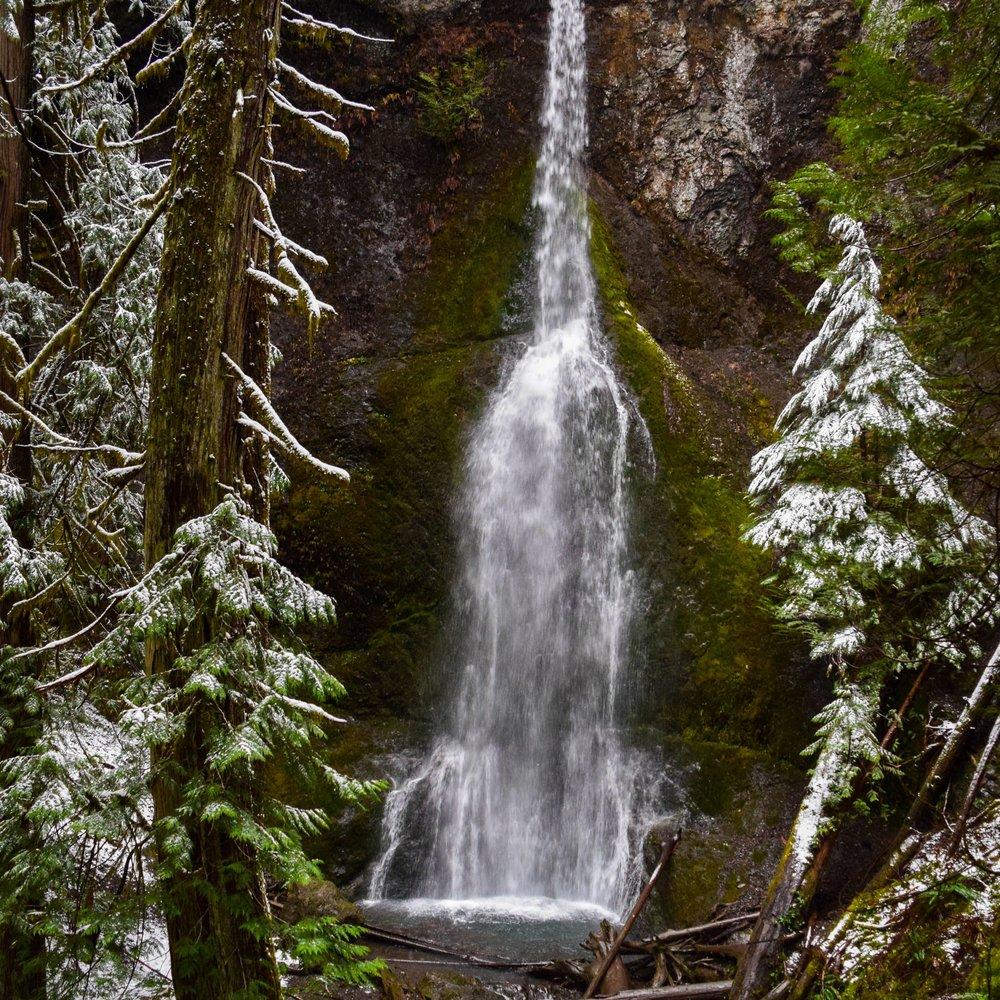 Winter Snow Surrounding Marymere Falls