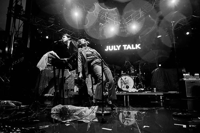 @Julytalk again in the storm. These guys do not stop!  #santateresafest for @weraddictedmag . .  #music #festival #gigphotography #dblockphoto #blackandwhite #julytalk #rain #wet #hardcore #peterdreimanis #storm