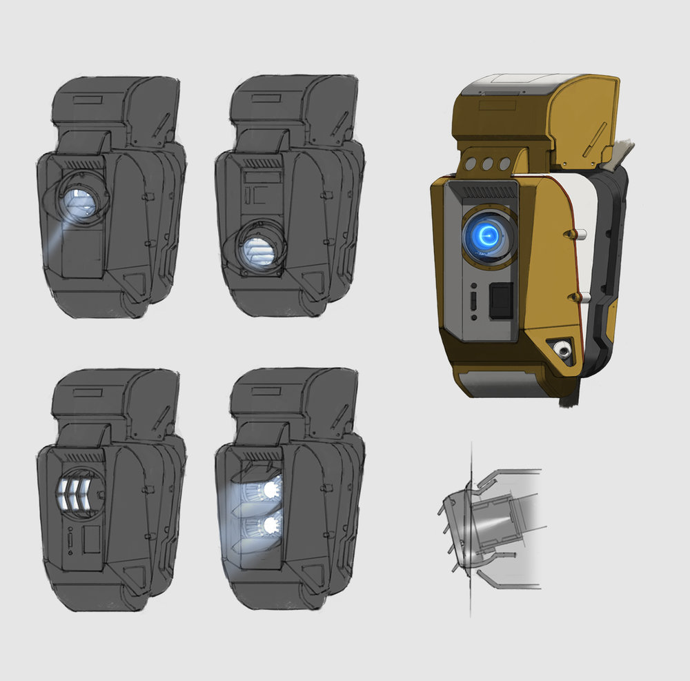 Backpack - ion thruster sketches