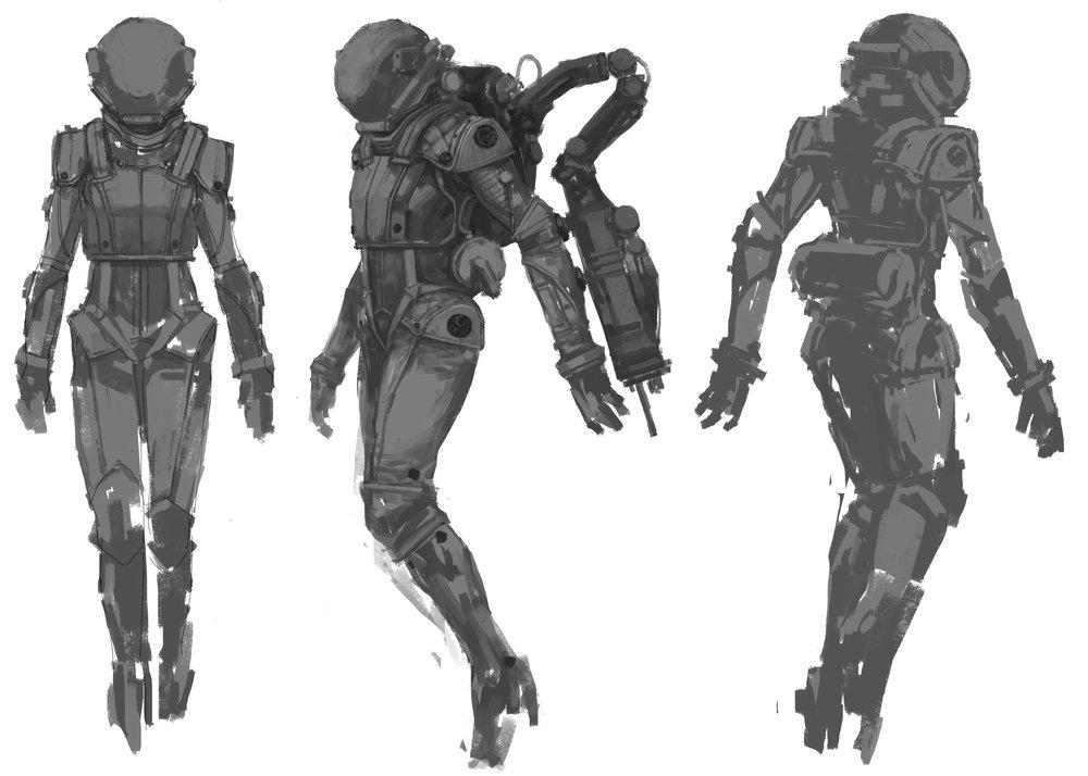 Olivia Rhodes - EVA suit sketch