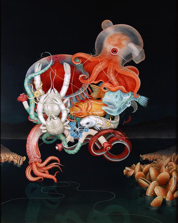 The Silent Dredge, (acrylic on maple panel 43''x 35'') Tiffany Bozic, 2008.