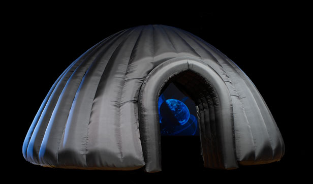 GeoDome Theater by design company, the Elumenati.Worldviews shows were held in both full dome and portable immersive environments.