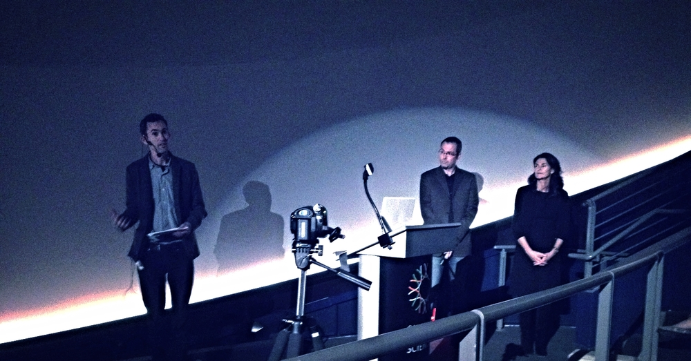 "Presenters tell the story while operators ""fly"" through the datasets in real time. Audiences stay for a dialogue afterwards. Robin Grossinger, Healy Hamilton, and Ryan Wyatt from the ""Valley Oaks"" program, California Academy of Sciences."