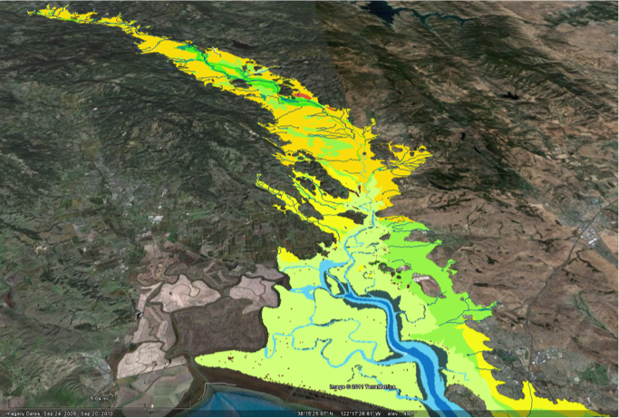 We explore differenthabitat types alongthe Napa River as they might have been in the1850's, zooming in on Valley Oak savannas (yellow) digitized by SFEI.