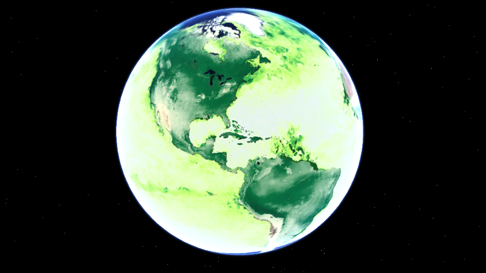 """Primary productivity (green) represents the Earth's forests """"breathing"""" energy in and out with the seasons."""