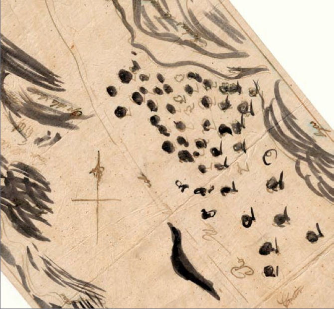 """Bringing the rich qualities ofthis digitized Spanish """"diseno"""" map (depicting the broad extent of """"roblas""""/Oaks in black) into the immersive dome was a challenge.Credit: SFEI."""