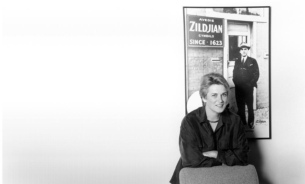 Craigie Zildjian, circa 1980. The man in the portrait is her Grandfather Avedis Zildjian.