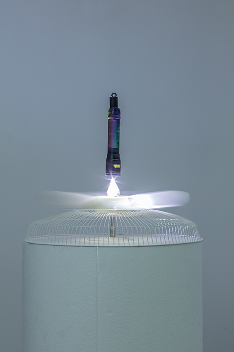 kinetic sculpture - LED light, motor, re used domestic fan, cd, magnets, polystyrene; 160 x 60cms diameter