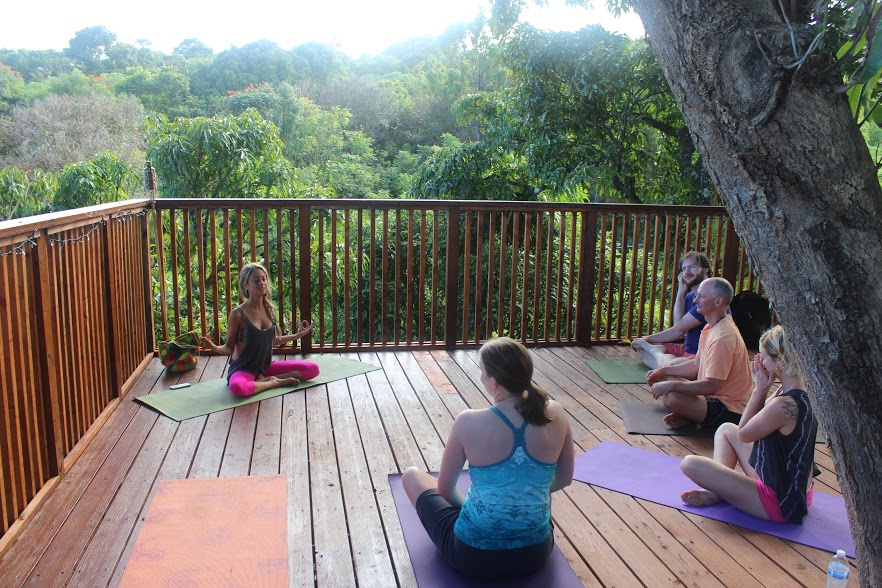 Yoga in a mango tree house!
